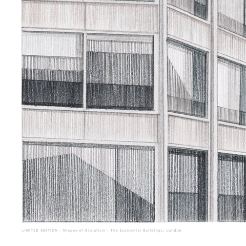 A2 Limited Edition of Hand Drawing - Shapes of Brutalism Economist Buildings, London