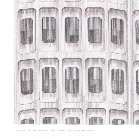 A2 Limited Edition of Hand Drawing - Shapes of Brutalism Camden Town Hall Annexe, London