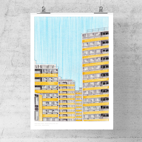A3 Limited Edition of Hand Drawing - Churchill Gardens Estate (10 only - 1 LEFT)