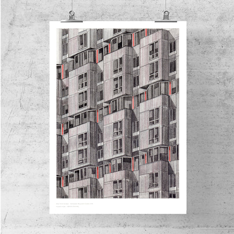 A3 Limited Edition of Hand Drawing - Eastwood, Roosevelt Island, NYC (10 only - 5 remaining)