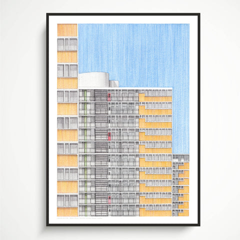 A3 Limited Edition of Hand Drawing - Ripley House, Churchill Gardens Estate (10 only)