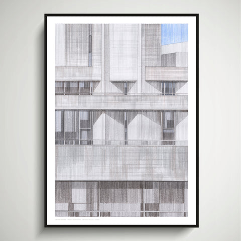 A2 Limited Edition of Hand Drawing - Shapes of Brutalism National Theatre, London
