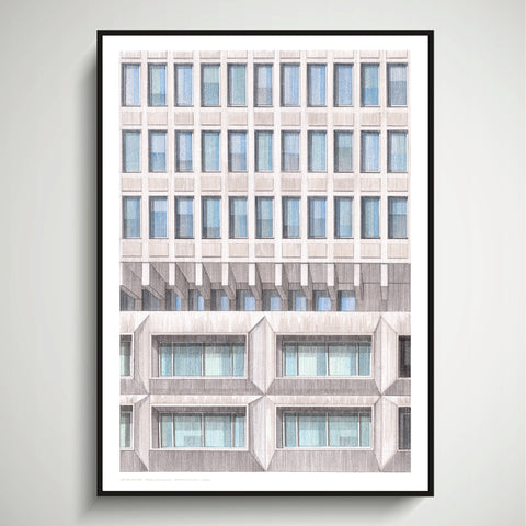 A2 Limited Edition of Hand Drawing - Shapes of Brutalism Ministry of Justice, London