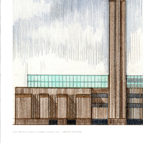 A3 Limited Edition of Hand Drawing - Tate Modern Under a Foggy London Sky (10 only - 1 remaining)