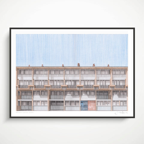 A2 Limited Edition of Hand Drawing - Tenby Court, Walthamstow