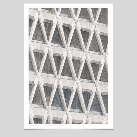 A2 Limited Edition of Hand Drawing - Shapes of Brutalism Welbeck Street Car Park, London