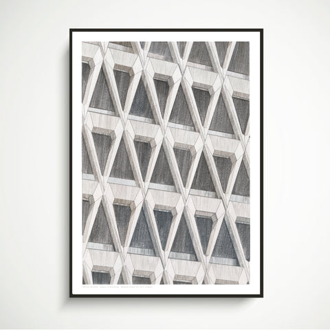 A2 Limited Edition / Original Drawing - Shapes of Brutalism Welbeck Street Car Park, London