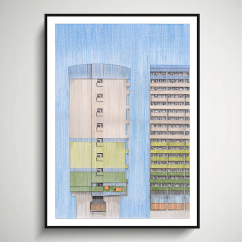 A2 Limited Edition of Hand Drawing - Fred Wigg & John Walsh Towers, Leytonstone (20 only - 6 remaining)
