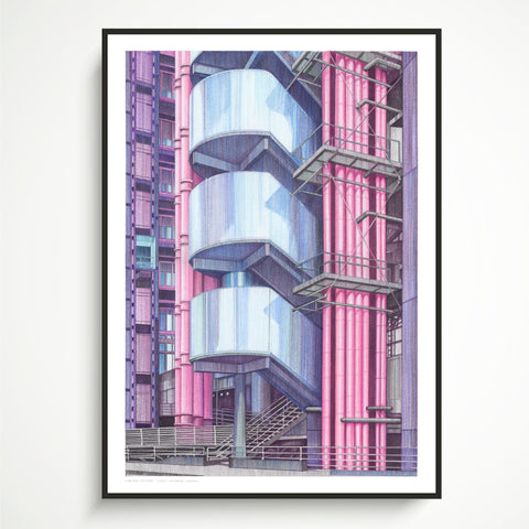 A2 Limited Edition of Hand Drawing - The Lloyd's Building, London (50 only)
