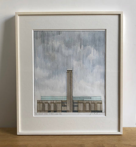 Framed Original Hand Drawing - Tate Modern Under a Foggy London Sky