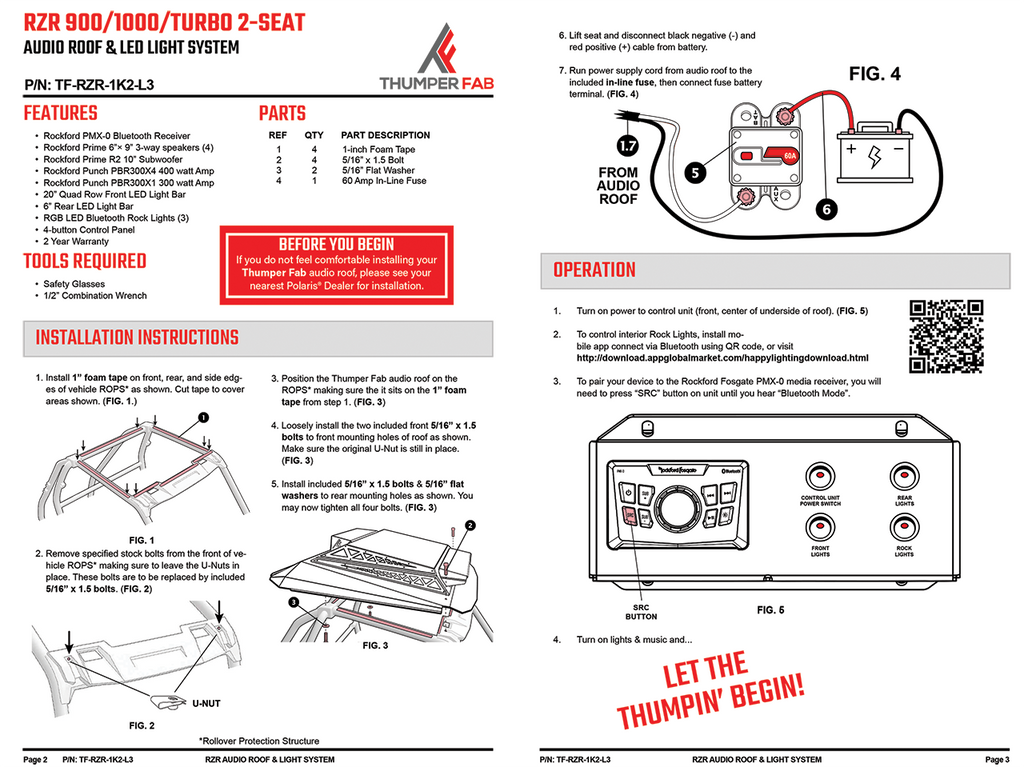 Thumper Fab RZR Audio Roof Installation Manual (2-seat)