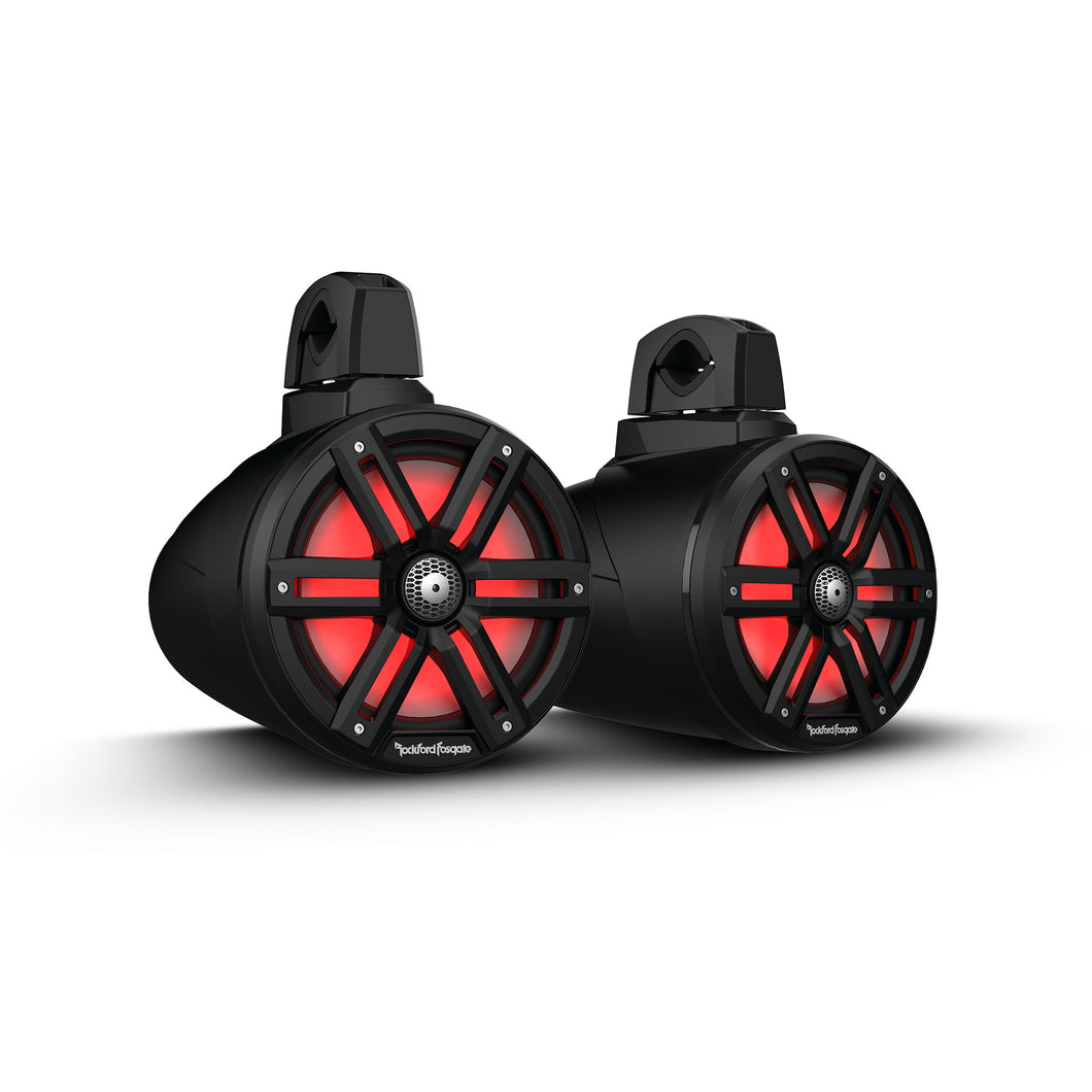 "M2 8"" Color Optix™ 2-Way Wake Tower Speakers - Black - Thumper Fab"