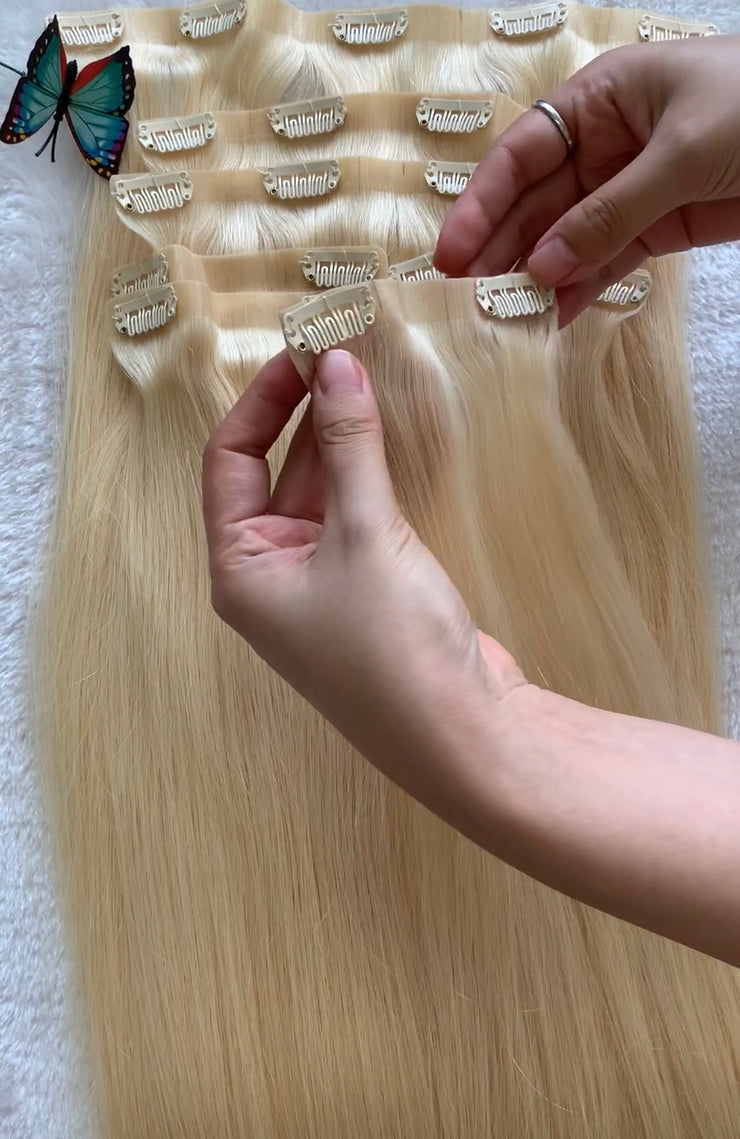 7 piece clip in extensions 150 grams 100% human hair