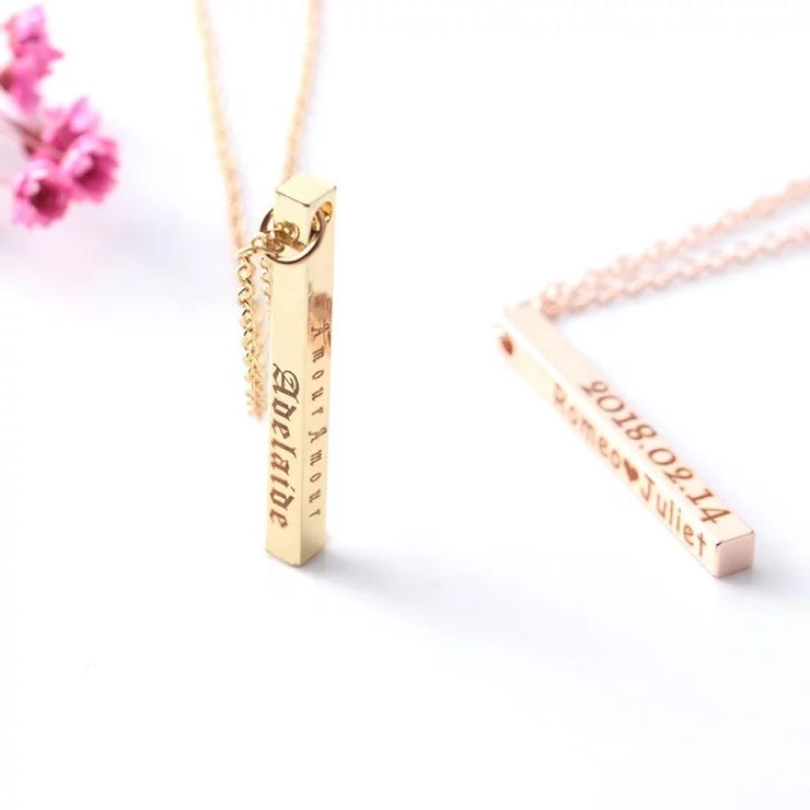 Sleek and stylish bar necklace with custom engraving