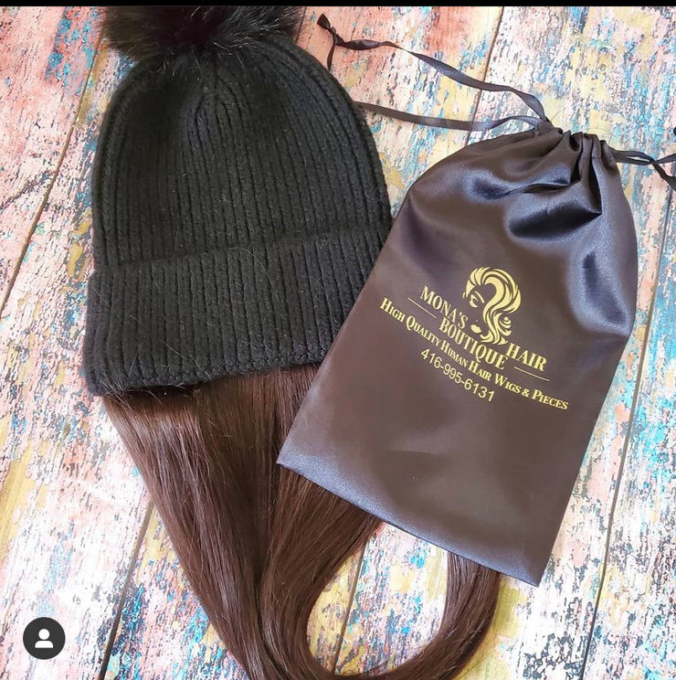 Winter beanie wig 18 inch Havana brown customizable