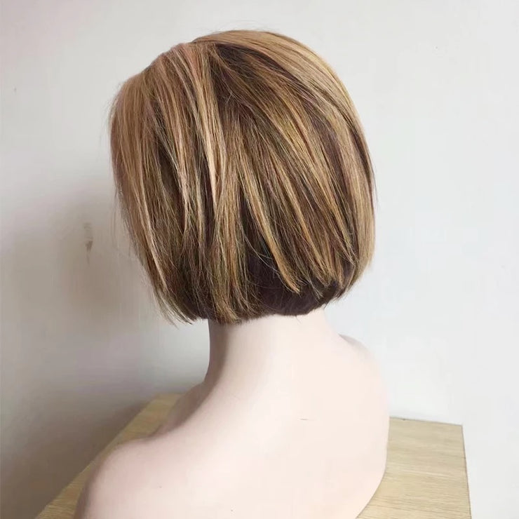 10 Inch Bob cut with highlights front lace