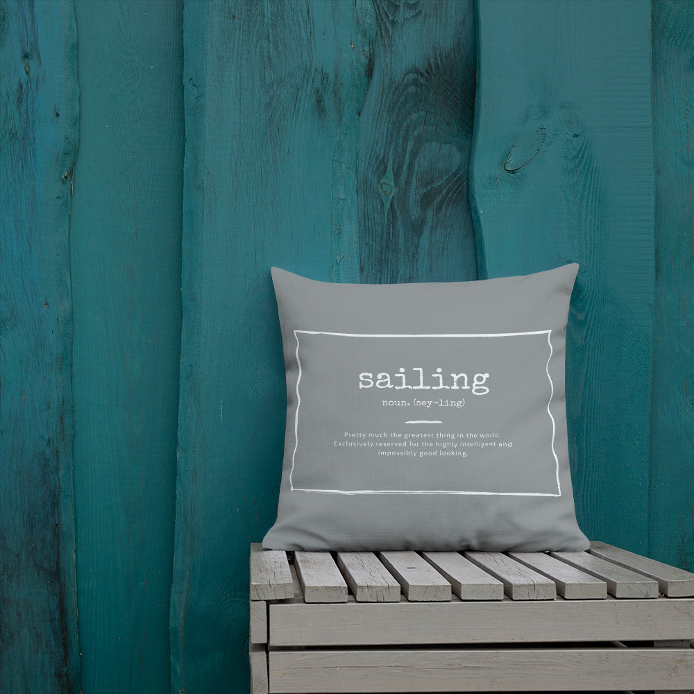 Scatter Cushion - Funny Sailing Definition - Grey