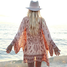 Load image into Gallery viewer, Boho Feather & Bone Beach Robe
