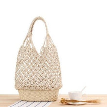 Load image into Gallery viewer, Macrame & Rattan Basket Bag
