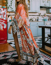 Load image into Gallery viewer, Boho Flamingo Beach Kimono