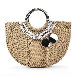 Cowrie Moon Straw Bag