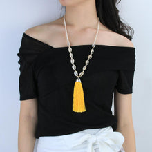 Load image into Gallery viewer, Tuent Cowrie Necklace - Hot Yellow
