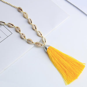 Tuent Cowrie Necklace - Hot Yellow