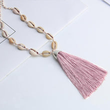 Load image into Gallery viewer, Tuent Cowrie Necklace - Dusky Rose