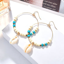 Load image into Gallery viewer, Bead & Shell Hoop earrings