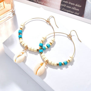 Bead & Shell Hoop earrings