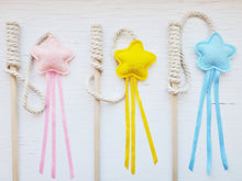 Load image into Gallery viewer, Cat Toys - Star and Ribbon Wand Toy on string - Organic Catnip and bell