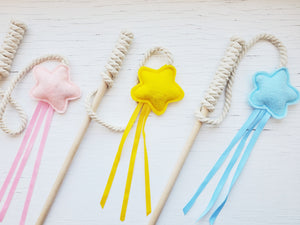 Cat Toys - Star and Ribbon Wand Toy on string - Organic Catnip and bell