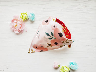 Pink Floral Bandanna - Small - Slips on Collar