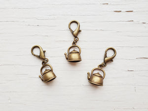 Pendant - Kettle - Bronze Plated Pet Collar Accessory
