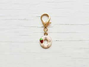 Pendant - Enamel Strawberry Donut - Collar not included