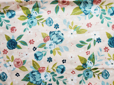 Pet Bed - Blue Floral Print