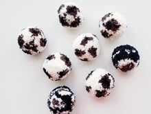 Load image into Gallery viewer, Cat Ball Toy - Cow Print Pompom - Organic Catnip and Bell