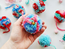 Load image into Gallery viewer, Cat Ball Toy - Floral Pompom - Organic Catnip and Bell