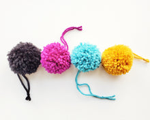 Load image into Gallery viewer, Cat Ball Toy - 4pk Pompoms - Organic Catnip and Bell