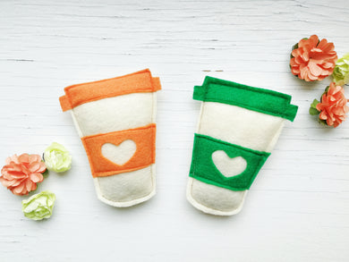 Dog Toys - Pumpkin Latte - Coffee Cup - Organic Catnip and bells inside