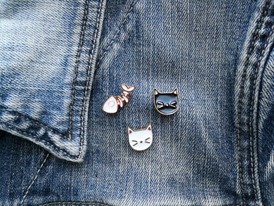 Enamel Cat Head Pins