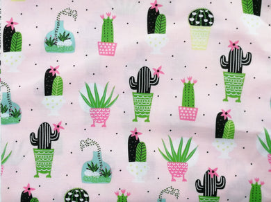 Pet Bed -Pink Cacti Print
