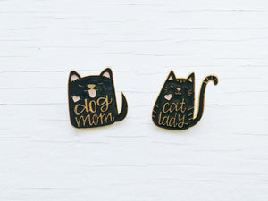 Enamel Cat Lady Pins