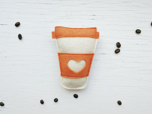 Cat Toys - Pumpkin Latte - Coffee Cup - Organic Catnip and bells inside