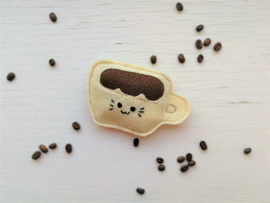 Cat Toys - Catpuccino Coffee Mug - Organic Catnip and bells inside