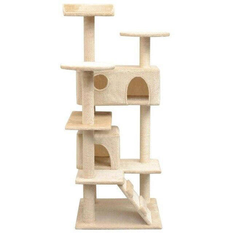 Arbre à chat base carrée 1m30 beige