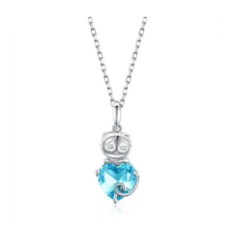 collier pendentif chat au coeur turquoise