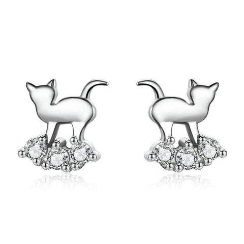 Boucles d'Oreilles Chat  Nuage de Diamants