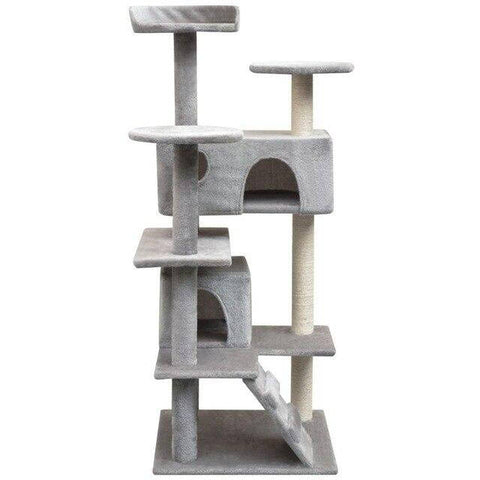 Arbre à chat base carrée 1m30 gris