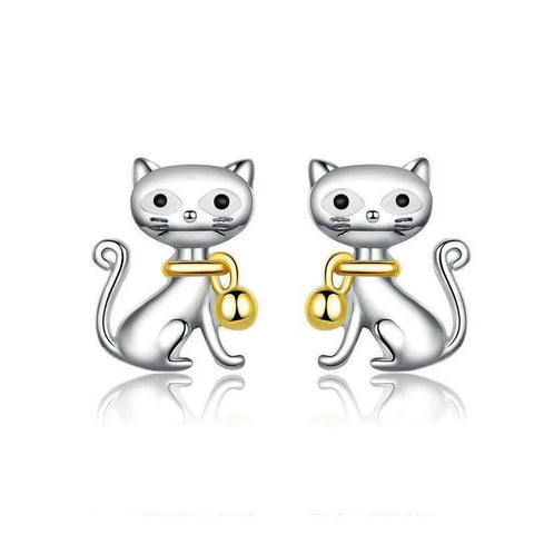 Boucles d'Oreilles Chat  Collier d'Or
